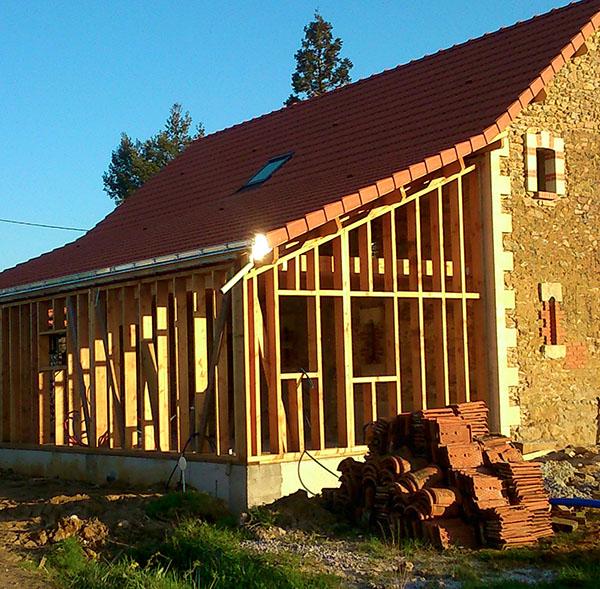 Ossature sur extension pour rénovation passive